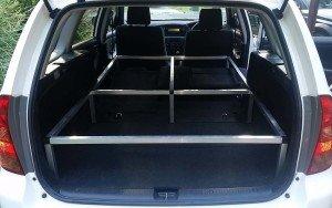 Toyota Corolla wagon camper conversion bare frame view