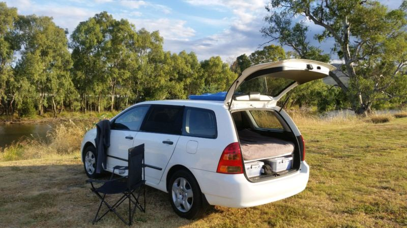 folding camper system for wagon in action