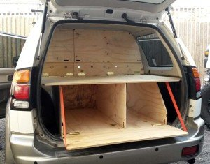 1 rear view Montero Sport camper wagon conversion