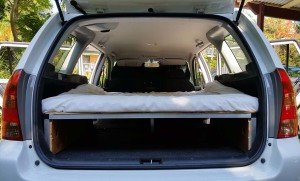 Rear view with high desnity foam mattress Corolla wagon camper conversion