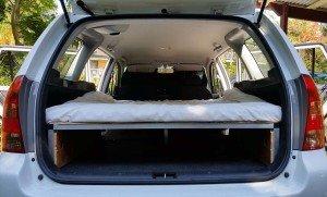 Rear view with high desnity foam mattress Corolla wagon camper conversion